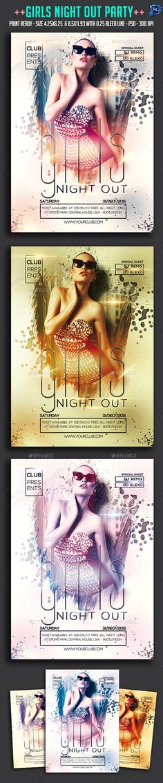 Girls Night Out Party Flyer Template PSD #design Download…