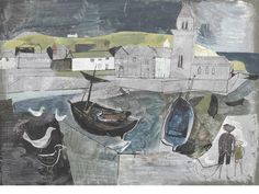 John Minton (British, Mevagissey, Cornwall 28 x cm. x 15 in.) Must look up artist would work great with Hearty good wishes fabric - perfect colours History Of Illustration, Illustration Art, Landscape Art, Landscape Paintings, John Minton, Costa, Naive Art, Painting Inspiration, Painting & Drawing