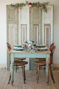 Great farm table! The worn pantina is so beautiful.