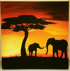 Africa Painting, Africa Art, Pretty Pictures, Art Pictures, Painting & Drawing, Watercolor Paintings, Elephant Silhouette, African Theme, Painting Inspiration