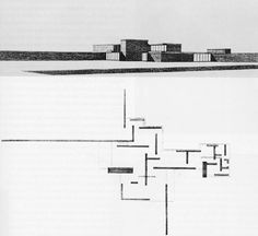 """Mies van der Rohe, perspective drawing and plan of the """"brick country house"""", 1924 plan inspiration comes from Theo van Doesburg's works."""