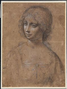 Leonardo da Vinci Bust of young woman, turned to the left Musee Louvre