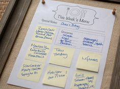 How to Create a Weekly Menu Board  Make meal planning more fun by crafting one of these clever menu boards that are easy to personalize.