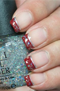Designs for christmas ideas about Christmas manicure, pretty nails and Holiday nail art. As if ombre nails are not cool enough, this holiday nail design uses a glitter ombre with painted Christmas ornaments on each nail. The look is intricate and fun . Holiday Nail Designs, Holiday Nail Art, Christmas Nail Art, Cute Nail Designs, Christmas Manicure, Christmas Ideas, Christmas Tinsel, Fancy Nails, Pretty Nails