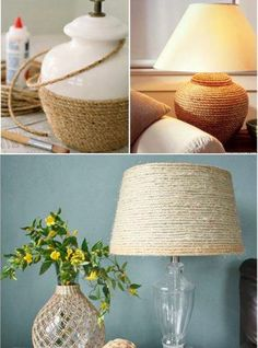 Buy a cheap lamp and spruce it up with some twine and an updated lampshade!