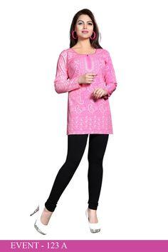 Pink American Crepe Printed Short Kurti - Crepe Kurtis / Tunics Manufacturer & Exporter | Kurtisindia-----------Black American Crepe Printed Short Kurti