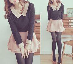 long-sleeve collared shirt with circle skirt.