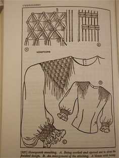 Diy Crafts - Pre-war sewing manual with designs for smocking on blouse Fabric Manipulation Techniques, Textiles Techniques, Embroidery Techniques, Sewing Techniques, Smocking Tutorial, Smocking Patterns, Sewing Patterns, Skirt Patterns, Coat Patterns