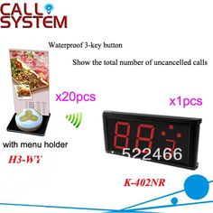 386.00$  Buy now - http://aliiaf.shopchina.info/go.php?t=1175375062 - Calling Electronic System K-402NR+H3-WY for restaurant service with call button and led display DHL Shipping Free  #shopstyle