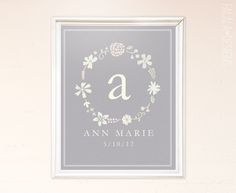 falala designs: Floral Wreath Printable (free and customizable in Photoshop or Word--would be so cute in a nursery!)