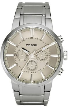 Fossil Men's FS4359 Stainless Steel Bracelet Silver Analog Dial Chronograph Watch < $89.94 > Fossil Watch Men