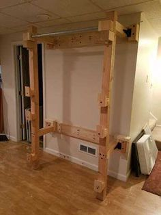 Post with 6294 views. Fold Back Wooden Power Rack Home Made Gym, Diy Home Gym, Gym Room At Home, Homemade Gym Equipment, Diy Gym Equipment, No Equipment Workout, Fitness Equipment, Squat Rack Diy, Diy Power Rack