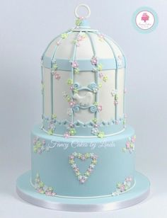 Blue & White Birdcage Birthday Cake - Cake by Fancy Cakes by Linda
