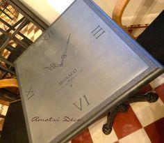 amatxi dco crations table bistrot revisite en horloge avec de la poudre de mtal zinc