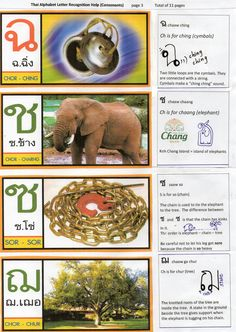 Thai Alphabet 3  Visual Aid to assist memory