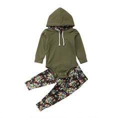 6df123a6712 Baby Girls Boys Floral Hooded Tops with Floral Pants Set