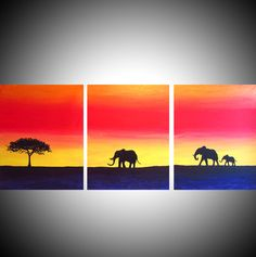 affordable wall canvas art Elephant Decor nursery by wrightsonarts