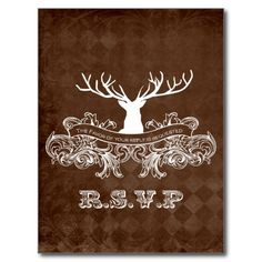 Rustic Antler, Deer Winter Woodland rsvp ** LOOKING for Wedding Matching Stationery Sets ?- PLEASE VISIT...  http://www.zazzle.com/weddinginvitationkit