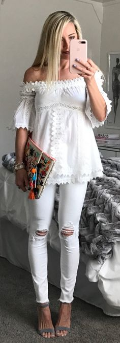 #spring #fashion White Off The Shoulder Top & White Ripped Skinny Jeans & Grey Sandals
