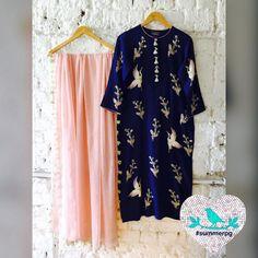Ribbon Blossoms Kurta. Summer by Priynka Gupta. 21 October 2016 Indian Suits, Indian Attire, Indian Dresses, Indian Wear, Kurta Designs, Blouse Designs, Dress Designs, Desi Clothes, Indian Clothes