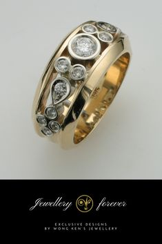 Bezel set band with high quality white gold, yellow gold and diamonds.
