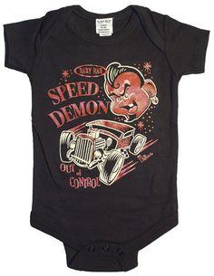 Baby RAB Speed Demon Rat Rod Rockabilly Baby Onesie Black | eBay