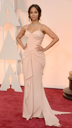 Actress Zoe Saldana walks the 87th Annual Academy Awards red carpet. via @stylelist | http://aol.it/1w0nfry