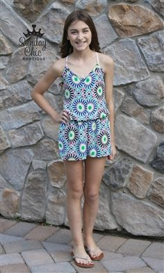 Flower Print Criss-Cross Romper sold by Sunday Chic Boutique . Shop more products from Sunday Chic Boutique on Storenvy, the home of independent small businesses all over the world. Cute Little Girl Dresses, Little Girl Models, Child Models, Kids Outfits Girls, Girl Outfits, Girls Dresses, Gucci Outfits, Very Good Girls, Lace Romper