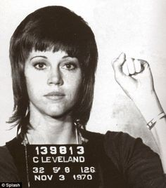 Jane Fonda mugshot. Looking both good and defiant to the end, Ms. Fonda had been arrested in 1970 for kicking a police officer. The officer was arresting her for possession of pills, which later turned out to be just vitamins.  9 Old School Celebrity Mugshots - Instant Checkmate http://blog.instantcheckmate.com/9-old-school-celebrity-mugshots/#