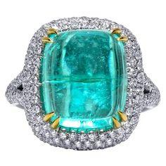 Mark Henry 14.00 Carat Cabochon Paraiba Tourmaline and Diamond Ring, 18 Karat For Sale at 1stDibs