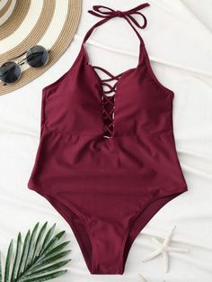 SHARE & Get it FREE | Cami Lace Up Swimsuit - Wine RedFor Fashion Lovers only:80,000+ Items • New Arrivals Daily Join Zaful: Get YOUR $50 NOW!