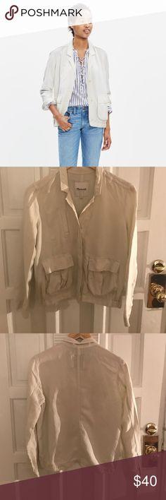 Madewell League Cargo Jacket Cream jacket, like new. Madewell Jackets & Coats