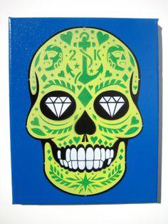 Calavera Sugar Skull Stencil Art by courtney2kdesign on Etsy