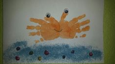 Summer crab handprints with 1 & 2 year old class