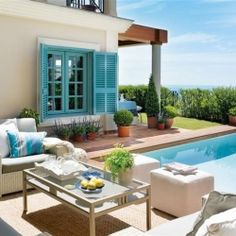House of Turquoise: Costa del Sol, Spain, Nice to retire in this beauty. Outdoor Rooms, Outdoor Living, Outdoor Furniture Sets, Outdoor Decor, House Of Turquoise, Turquoise Accents, Cool Pools, Coastal Living, My Dream Home