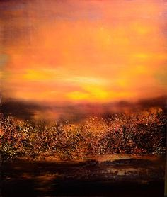 The Color of Dusk - Print. The Color of Dusk by Maurice Sapiro portrays the illusive and fleeting mystery of sunset through the various textures presented on canvas. This piece features a palette of contrasting black hues with illuminating orange tones.