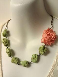 resin flower necklace, resin çiçek kolye
