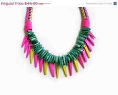 CYBER MONDAY SALE Statement Spike Necklace, Amazonite and Coco Spikes Jungle Queen Necklace,Multicolor Handmade Necklace. $38,25, via Etsy.