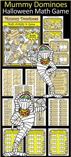 Mummy Dominoes Halloween Math Game : This Halloween math activity center serves not only as a fun math skills practice for your students but also as the classic game. Each tile is embellished with smiling mummies to herald the coming of Fall & Halloween. Includes Mummy Dominoes Instruction Sheet, Student Record Sheet, Student Activity Mat, and 55 Mummy Domino Double Nine Tiles.  #Halloween # Mummy #Dominoes #Math #Game #Activities #Teacherspayteachers
