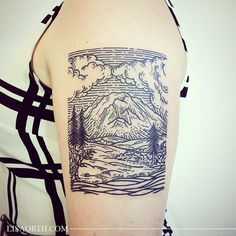 Did this scene of Mount Rainier for Lauren, who's moving back east and wanted a memento of her time here in the Pacific Northwest for her first tattoo
