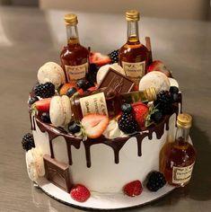 Alcohol Birthday Cake, 21st Birthday Cake For Guys, Birthday Cake For Boyfriend, 25th Birthday Cakes, Alcohol Cake, 21st Cake, Adult Birthday Cakes, Husband Birthday Cake, Boyfriend Cake