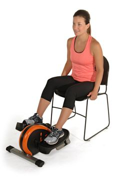 use this elliptical trainer either standing or sitting you can even put it under your desk and get your workout done while you work