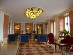 A lounge of the Grand Britannia Excelsior hotel, Cardenabbia, Lake Como, Italy. by B Waddington