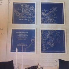 Charleston Harbour map frames in 4 different frames