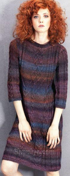 Платье с ирландскими узорами, вязаное спицами
