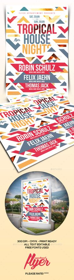 Tropical House Nights Flyer Template PSD. Download here: http://graphicriver.net/item/tropical-house-nights-flyer/15368549?ref=ksioks