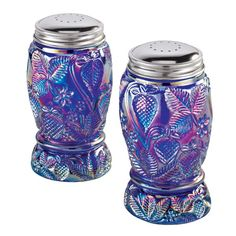 Blue carnival glass strawberry S shakers.