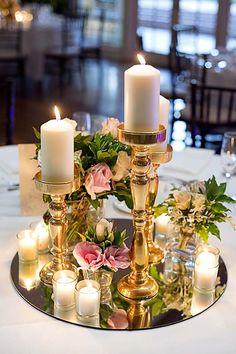 Masterful Elegant Classy wedding ideas---diy wedding table with candle and . Masterful Elegant Classy wedding ideas---diy wedding table with candle and blossom centerpiece, gold weddings. Candle Centerpieces, Wedding Table Centerpieces, Wedding Flower Arrangements, Candles, Centerpiece Ideas, Centerpiece Flowers, Diy Table Decorations, Mirror Decorations, Candle Favors