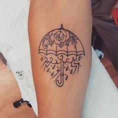 tattoo Floral Outline Umbrella Tattoo by Ian from Rosewater Tattoo - Portland, OR Ian Rust Rain Cloud Tattoos, Rain Tattoo, Storm Tattoo, Umbrella Tattoo, Future Tattoos, New Tattoos, Body Art Tattoos, Cool Tattoos, Portland Tattoo