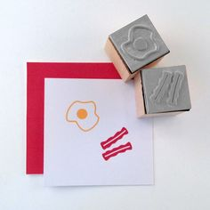 Mini Bacon and Eggs Rubber Stamp Set via Etsy (cupcaketree)